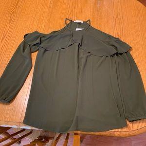 Michael Kors olive green peasant top